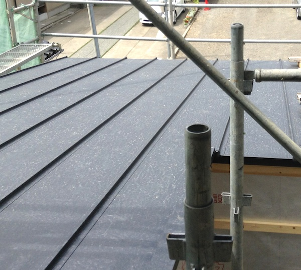 ガルバリウムの屋根は黒色。気になる雨音はどんなものか。