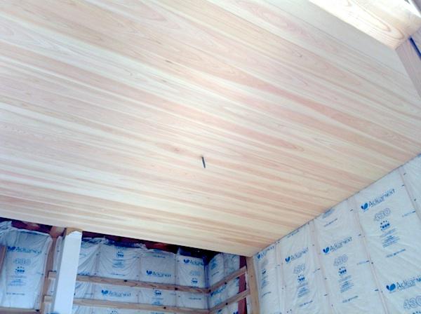 ヒノキの天井羽目板